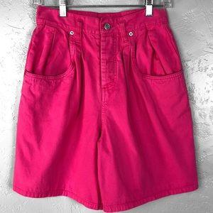 Vintage 90s High Waist Shorts Dark Pink